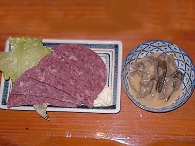 町田 柿島屋 馬肉ハムと馬肉とネギのぬた