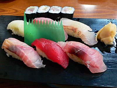 小田原だるま食堂の相模湾の魚寿司